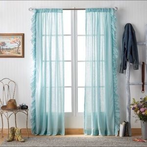 "Pioneer Woman Chambray Ruffle 84"" Curtain Set"